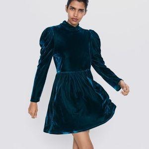 - NWT Zara Velvet Mini Dress Green Long Slee…